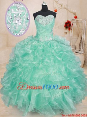 Colorful Light Blue Sweetheart Lace Up Beading and Ruffles Quinceanera Dresses Sleeveless