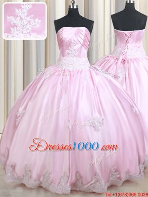 High End Taffeta Strapless Sleeveless Lace Up Appliques Quince Ball Gowns in Baby Pink
