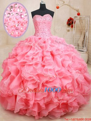 Pink Lace Up Quinceanera Gown Beading and Ruffles Sleeveless Floor Length