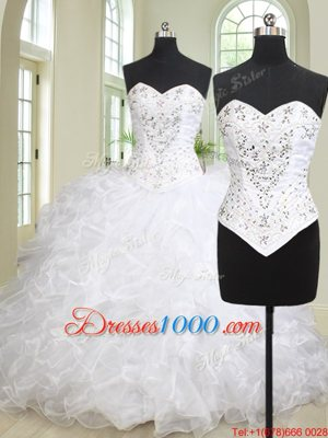 Sweetheart Sleeveless Brush Train Lace Up Quinceanera Gown White Organza