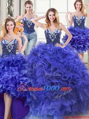 Smart Four Piece Sleeveless Beading and Ruffles Lace Up 15 Quinceanera Dress
