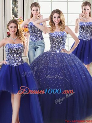 Perfect Four Piece Sleeveless Tulle Floor Length Lace Up Quince Ball Gowns in Royal Blue for with Beading