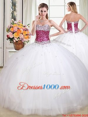 Flare Sleeveless Floor Length Beading Lace Up Ball Gown Prom Dress with White