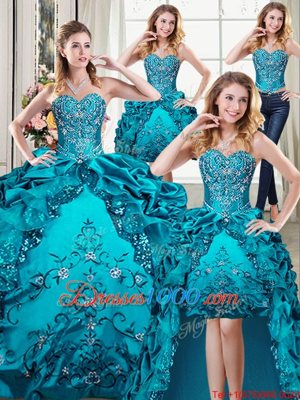 Graceful Four Piece Pick Ups Floor Length Ball Gowns Sleeveless Teal Quince Ball Gowns Lace Up