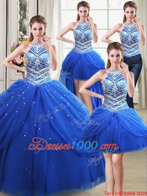 Enchanting Four Piece Halter Top Sleeveless Lace Up Floor Length Beading and Pick Ups Ball Gown Prom Dress
