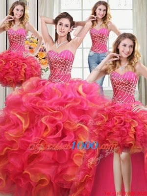Hot Sale Four Piece Sleeveless Beading and Ruffles Lace Up Sweet 16 Dresses