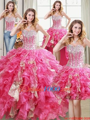 Four Piece Sleeveless Lace Up Floor Length Beading and Ruffles and Sequins Quinceanera Dresses