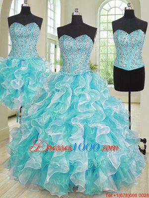 Three Piece Organza Sweetheart Sleeveless Lace Up Beading and Ruffles Ball Gown Prom Dress in Blue And White