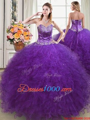 Floor Length Eggplant Purple Quinceanera Gowns Sweetheart Sleeveless Lace Up