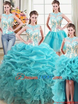 Beauteous Four Piece Scoop Floor Length Lace Up Quince Ball Gowns Aqua Blue and In for Military Ball and Sweet 16 and Quinceanera with Beading and Ruffles