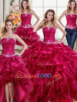 Four Piece Floor Length Lace Up Sweet 16 Dress Fuchsia and In for Military Ball and Sweet 16 and Quinceanera with Beading and Ruffles