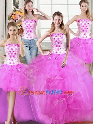Simple Four Piece Floor Length Fuchsia Quinceanera Gowns Tulle Sleeveless Beading and Appliques and Ruffles
