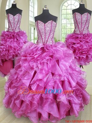 Shining Four Piece Fuchsia Lace Up Quinceanera Gowns Beading and Ruffles Sleeveless Floor Length