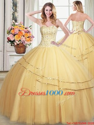 Gold Ball Gowns Sweetheart Sleeveless Tulle Floor Length Lace Up Beading and Sequins Quince Ball Gowns