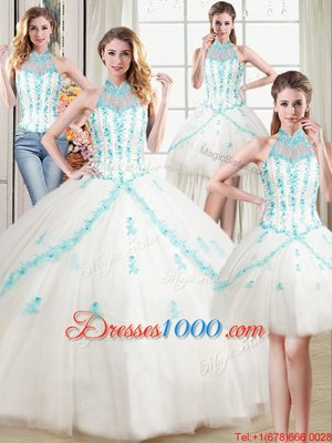 Four Piece Halter Top Sleeveless Ball Gown Prom Dress Floor Length Beading and Appliques White Tulle