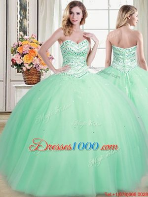 Amazing Tulle Sweetheart Sleeveless Lace Up Beading Sweet 16 Dresses in Apple Green