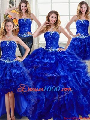 Four Piece Organza Sleeveless Floor Length Quinceanera Gowns and Beading and Ruffles