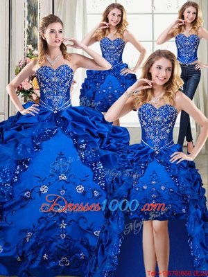 fee4373a9e6 Four Piece Royal Blue Sweetheart Lace Up Beading and Embroidery and Pick Ups  15th Birthday Dress