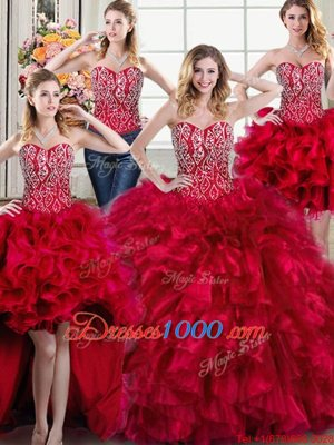 Four Piece Red Sleeveless Organza Brush Train Lace Up Vestidos de Quinceanera for Military Ball and Sweet 16 and Quinceanera