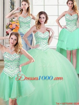 Unique Four Piece Apple Green Ball Gowns Tulle Sweetheart Sleeveless Beading Floor Length Lace Up Sweet 16 Dresses