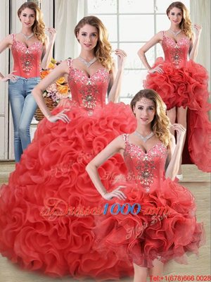 Four Piece Straps Straps Sleeveless Fabric With Rolling Flowers Floor Length Zipper Quinceanera Dress in Coral Red for with Beading and Ruffles