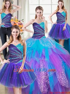 Four Piece Floor Length Lace Up Quinceanera Dresses Multi-color and In for Military Ball and Sweet 16 and Quinceanera with Beading and Ruffles