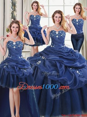 Four Piece Organza Sleeveless Floor Length 15 Quinceanera Dress and Appliques