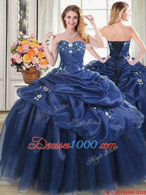 Enchanting Sweetheart Sleeveless Quinceanera Gown Floor Length Beading and Pick Ups Navy Blue Organza