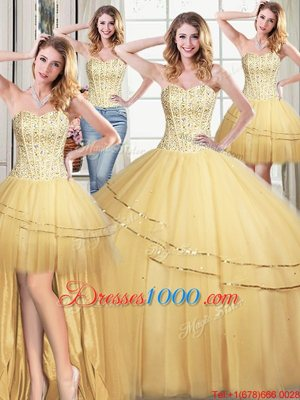Custom Made Four Piece Gold Ball Gowns Beading and Sequins Sweet 16 Dresses Lace Up Tulle Sleeveless Floor Length