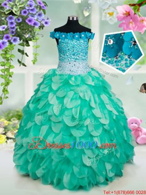 Off The Shoulder Sleeveless Lace Up Little Girl Pageant Gowns Turquoise Organza