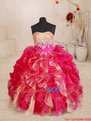 Stylish Red Sleeveless Organza Lace Up Girls Pageant Dresses for Quinceanera and Wedding Party
