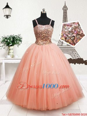 Perfect Straps Straps Beading and Sequins Kids Pageant Dress Peach Zipper Sleeveless Floor Length