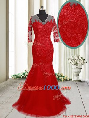 With Train Mermaid Half Sleeves Red Evening Dress Brush Train Clasp Handle