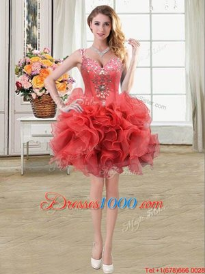 On Sale Coral Red Lace Up Straps Beading and Ruffles Club Wear Organza Sleeveless
