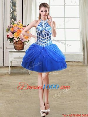 Fine Halter Top Mini Length Royal Blue Pageant Dress Toddler Tulle Sleeveless Beading and Pick Ups