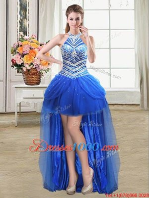 Chic Pick Ups Ball Gowns Cocktail Dress Royal Blue Halter Top Tulle Sleeveless High Low Lace Up