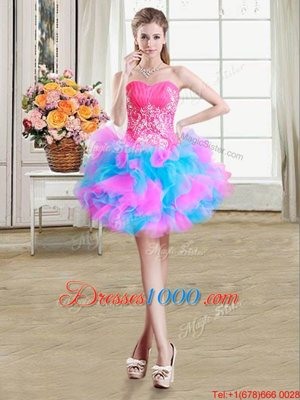 Adorable Multi-color Ball Gowns Beading and Ruffles Custom Made Pageant Dress Zipper Organza and Tulle Sleeveless Mini Length