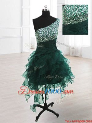 Sumptuous One Shoulder Knee Length A-line Sleeveless Peacock Green Homecoming Dress Online Lace Up