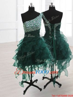 Wonderful One Shoulder Peacock Green Sleeveless Knee Length Beading and Ruffles Lace Up Oscars Dresses