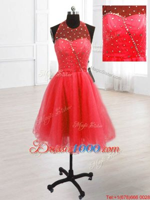 Beauteous High-neck Sleeveless Prom Party Dress Knee Length Sequins Coral Red Organza