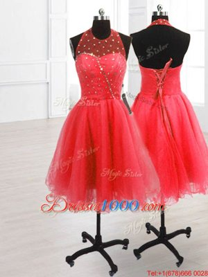 Watermelon Red Organza Lace Up Homecoming Party Dress Sleeveless Knee Length Sequins