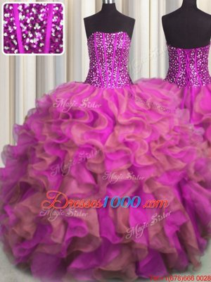 Glittering Leopard V-neck Sleeveless Quinceanera Dress Floor Length Beading and Ruffles Multi-color Organza