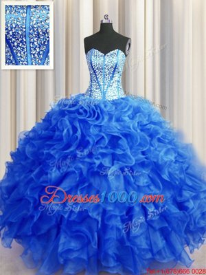 Visible Boning Beaded Bodice Royal Blue Sleeveless Beading and Ruffles Floor Length Quinceanera Gowns