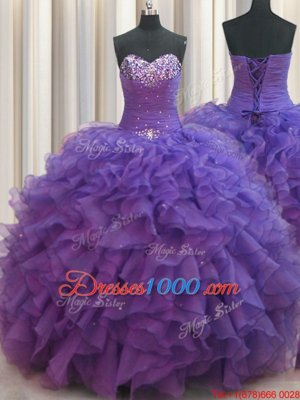 Cute Beaded Bust Purple Lace Up Sweetheart Beading and Ruffles Ball Gown Prom Dress Organza Sleeveless