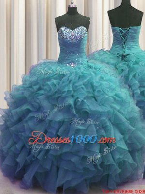 Luxury Beaded Bust Sleeveless Floor Length Beading and Ruffles Lace Up Sweet 16 Dresses with Teal