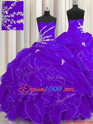 Floor Length Purple Quinceanera Gowns Organza Sleeveless Beading and Appliques and Ruffles