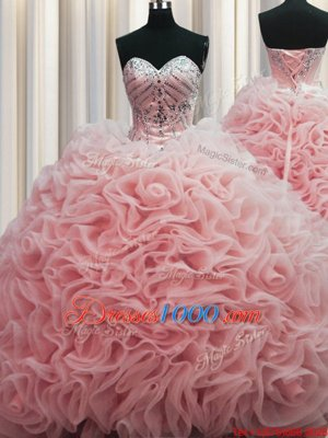 Suitable Rolling Flowers Brush Train Beading and Pick Ups Quince Ball Gowns Baby Pink Lace Up Sleeveless Floor Length