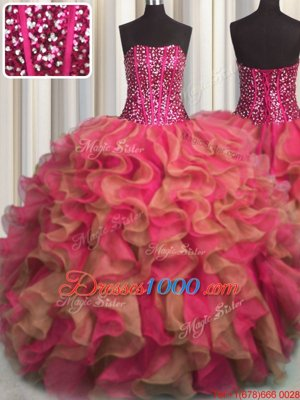 Visible Boning Beaded Bodice Multi-color Organza Lace Up Quinceanera Gowns Sleeveless Floor Length Beading and Ruffles