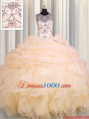 Glamorous Scoop See Through Peach Organza Lace Up Vestidos de Quinceanera Sleeveless Floor Length Beading and Ruffles and Pick Ups