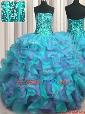 Visible Boning Beaded Bodice Strapless Sleeveless Lace Up Ball Gown Prom Dress Multi-color Organza